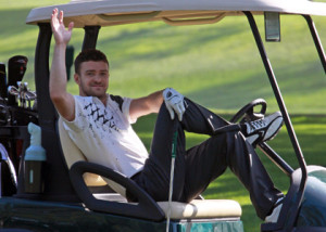 Justin Timberlake playing in Lake Tahoe celebrity golf tourney