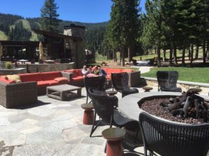 The fire pit area at the Ritz-Carlton Lake Tahoe is a great spot to hang out in the daytime and evening.