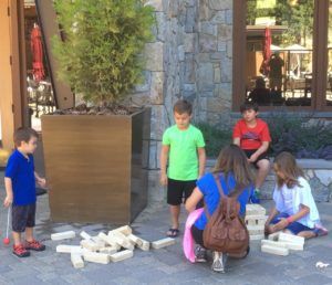 Outdoor summer games at the Ritz-Carlton Lake Tahoe include a horseshoe pit, bean bag toss, nets for both volleyball and badminton, a small disc golf area, plus large board games and blocks for younger kids.