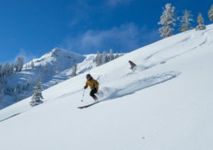 Powder day at Tahoe ski resorts