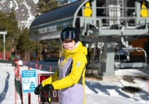 While at a Tahoe ski resort, skiers and riders must wear a mask are required practically everyone except when skiing or riding.