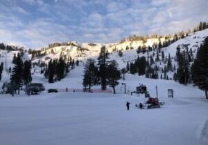 Following 16 inches of new snow Wednesday, Alpine Meadows was covered in a new layer of white in the morning.