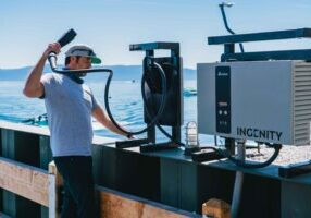 The installation of electric boat (EB) charging stations at the Homewood Marina aligns with Homewood's redevelopment by leading cutting-edge sustainability initiatives