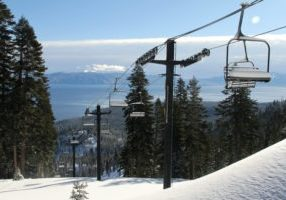 Powder days, like this one last year at Homewood Mountain, include not only great conditions but a spectacular view of nearby Lake Tahoe.