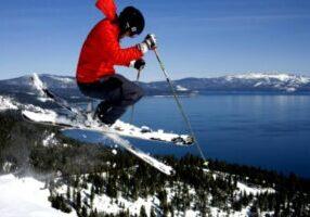 Homewood skier, great lake view