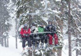 Northstar California skiers and riders braved some tough conditions Sunday after the resort received 37 inches over the previous 24 hours.