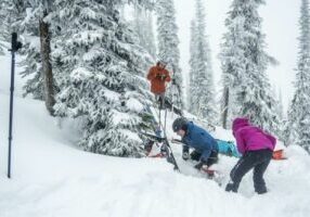 Tree wells are a source of danger and should always be avoided, even by experienced skiers and snowboarders. It's typically very difficult for an individual to pull themselves out of a tree well once they have fallen in, and reinforces the notion to never ski or snowboard alone.