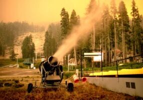 Snowmaking guns helped limit the damage created by the Caldor Fire in late August.