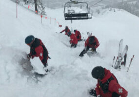 Squaw Valley employees were digging out a lift in mid-February, a frequent site this year at the Tahoe ski resort.