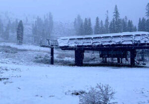 Sugar Bowl ski resort received 3 inches of snow Friday, the earliest snowfall in the Lake Tahoe region in four years.