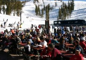 Crowds like this on the Judah deck at Sugar Bowl ski resort will not be tolerated this season due to the coronavirus.